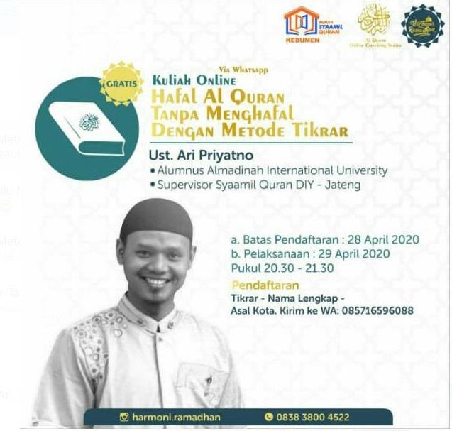 425 Orang Ikuti Kuliah Online Menghafal Quran Metode Tikrar
